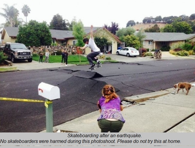 skateboarding after earthquake