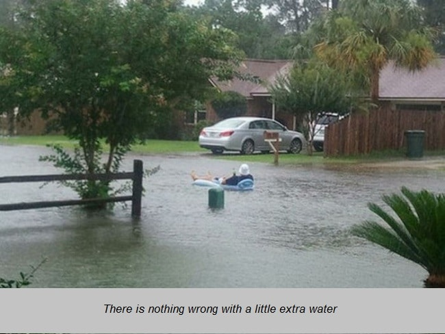 relaxing in a flood