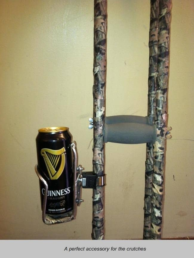 Guinness and crutches