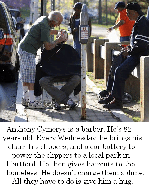 Every Wednesday, this brilliant 82 year old barber gives free haircuts to the homeless for free.