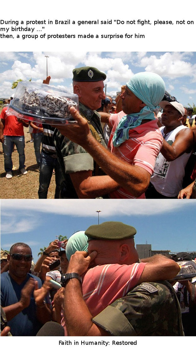A protester makes a soldier's day.